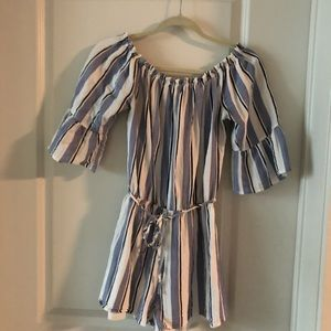 Blue/white/black striped romper - off the shoulder